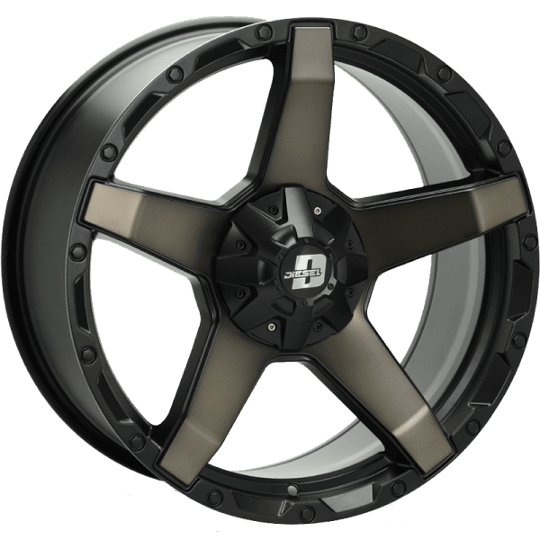 diesel exodus dark tint matte black concave 5 spoke wheels rims 4x4 4wd