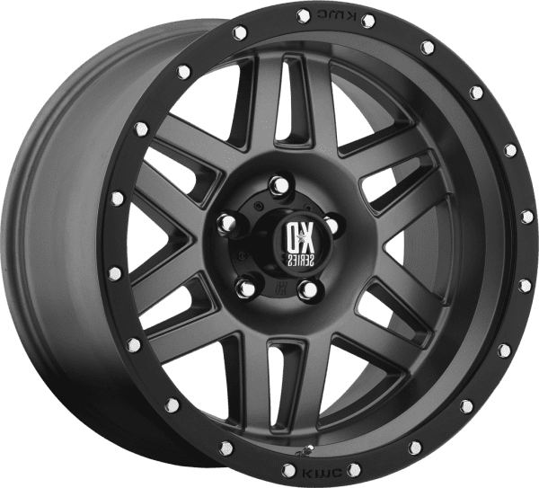kmc xd128 machete matte grey black lip machined face satin black wheels rims 4wd 4x4