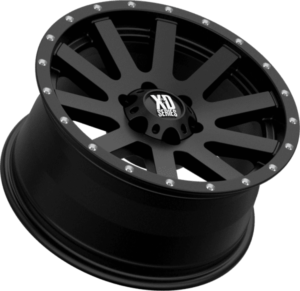 kmc xd818 heist satin gloss black milled wheels rims 4x4 4wd