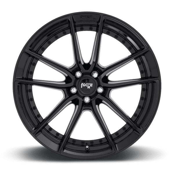 niche dfs gloss black dish concave wheels rims