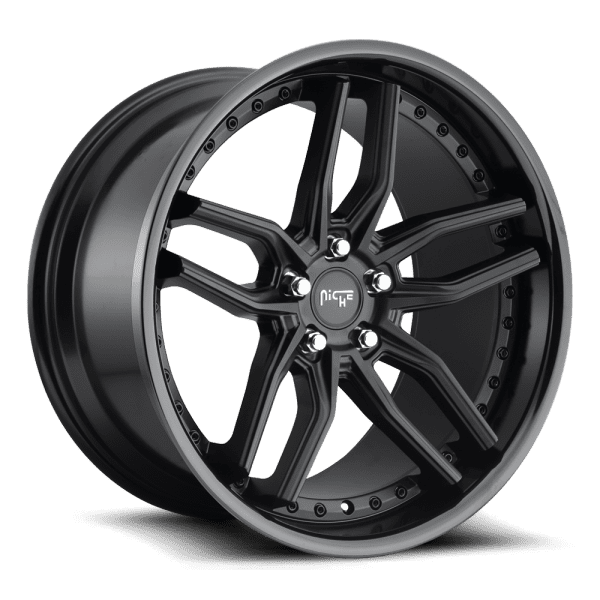 niche methos satin black gloss black lip concave wheels rims