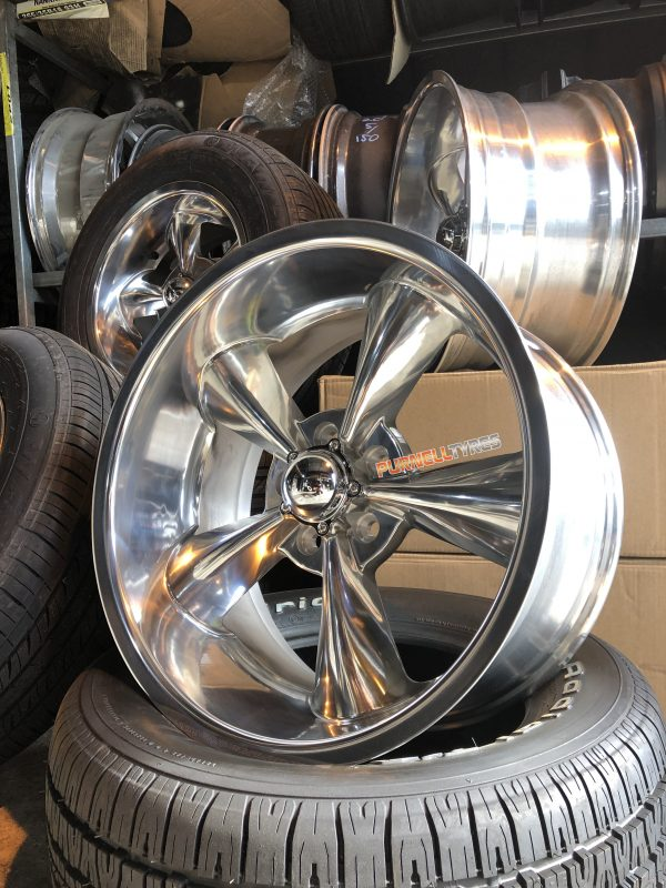 showwheels streeter polished dish 5 spoke drag muscle car
