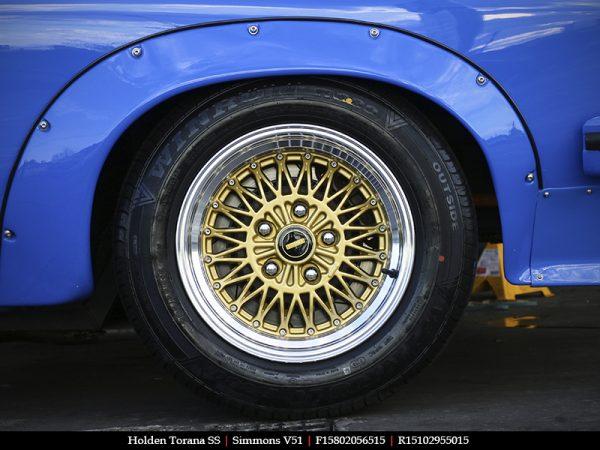 simmons v51 silver gold dish mesh wheels drag muscle car